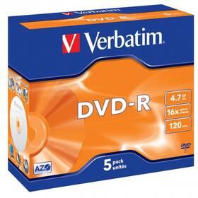 Disk Verbatim DVD-R 4,7GB, 16x, jewel box, 5ks (43519)