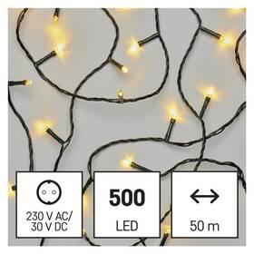 Vánoční osvětlení EMOS 500 LED řetěz, 50 m, venkovní i vnitřní, teplá bílá, časovač (D4AW06)
