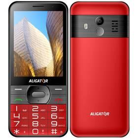 Mobilní telefon Aligator A900 Senior + nabíjecí stojánek (A900R) červený