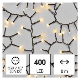 Vánoční osvětlení EMOS 400 LED řetěz - ježek, 8 m, venkovní i vnitřní, teplá bílá, časovač (D4BW02)