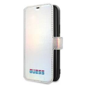 Pouzdro na mobil flipové Guess Iridescent Book na Apple iPhone 11 Pro (GUFLBKN58BLD) stříbrné