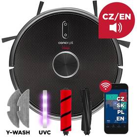 Robotický vysavač Concept VR3210 3v1 REAL FORCE Laser UVC Y-wash černý