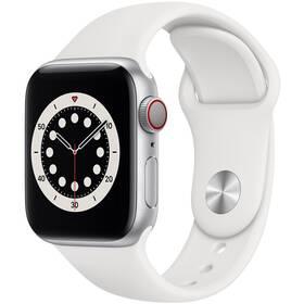 Chytré hodinky Apple Watch Series 6 GPS + Cellular, 40mm pouzdro ze stříbrného hliníku - bílý sportovní náramek (M06M3HC/A)