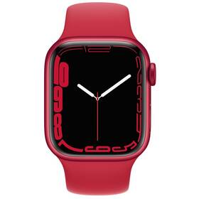 Chytré hodinky Apple Watch Series 7 GPS, 45mm pouzdro z hliníku (PRODUCT)RED - (PRODUCT)RED sportovní řemínek (MKN93HC/A)
