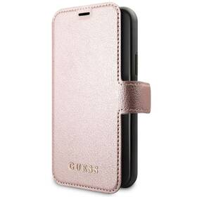 Pouzdro na mobil flipové Guess Iridescent Book na Apple iPhone 11 (GUFLBKSN61IGLR) růžové