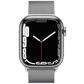 Chytré hodinky Apple Watch Series 7 GPS + Cellular, 45mm stříbrné pouzdro z nerezové oceli - stříbrný milánský tah (MKJW3HC/A)