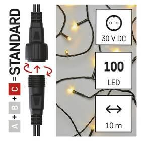 Spojovací řetěz EMOS 50 LED Standard, 5 m, venkovní i vnitřní, teplá bílá, časovač (D1AW02)