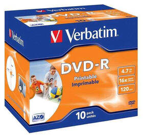 Disk Verbatim DVD-R 4.7GB, 16x, printable, jewel box, 10ks (43521)