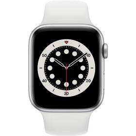 Chytré hodinky Apple Watch Series 6 GPS 40mm pouzdro střírbného hliníku - bílý sportovní náramek (MG283HC/A)