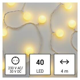 Vánoční osvětlení EMOS 40 LED cherry řetěz - kuličky 2,5 cm, 4 m, venkovní i vnitřní, teplá bílá, časovač (D5AW01)
