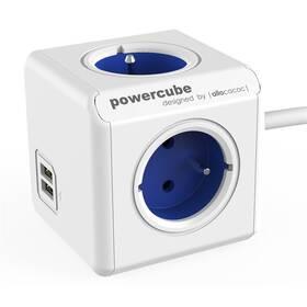 Kabel prodlužovací Powercube Extended USB, 4x zásuvka, 2x USB, 1,5m bílý/modrý