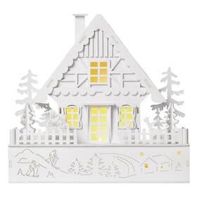 LED dekorace EMOS vánoční domek dřevěný, 28 cm, 2x AA, vnitřní, teplá bílá, časovač (DCWW06)