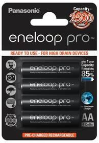 Baterie nabíjecí Panasonic Eneloop Pro AA, HR06, 2500mAh, Ni-MH, blistr 4ks (BK-3HCDE/4BE)