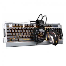 Klávesnice s myší Marvo CM303 + headset, CZ/SK (CM303 CZ) stříbrná