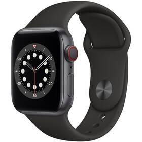 Chytré hodinky Apple Watch Series 6 GPS + Cellular, 44mm pouzdro z vesmírně šedého hliníku - černý sportovní náramek (MG2E3HC/A)