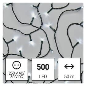 Vánoční osvětlení EMOS 500 LED řetěz, 50 m, venkovní i vnitřní, studená bílá, časovač (D4AC06)