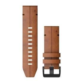 Řemínek Garmin QuickFit 26mm pro Fenix5X/6X, kožený, hnědý, černá přezka (010-12864-05)