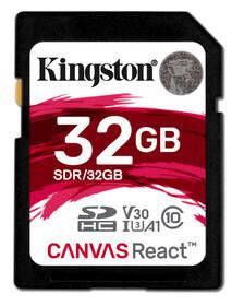 Paměťová karta Kingston Canvas React SDHC 32GB UHS-I U3 (100R/70W) (SDR/32GB)