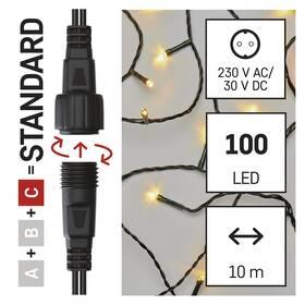 Spojovací řetěz EMOS 100 LED Standard, 10 m, venkovní i vnitřní, teplá bílá, časovač (D1AW03)