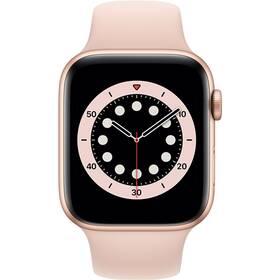Chytré hodinky Apple Watch Series 6 GPS 44mm pouzdro ze zlatého hliníku - pískově růžový sportovní náramek (M00E3HC/A)