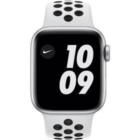 Chytré hodinky Apple Watch Nike SE GPS 44mm pouzdro ze stříbrného hliníku - platinový/černý sportovní náramek Nike (MYYH2HC/A)