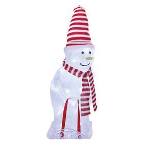LED dekorace EMOS 40 LED vánoční sněhulák s čepicí a šálou, 46 cm, venkovní i vnitřní, studená bílá (DCFC19)