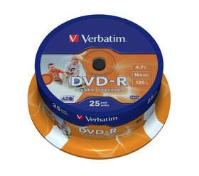 Disk Verbatim Printable DVD-R 4.7GB, 16x, 25cake (43538)