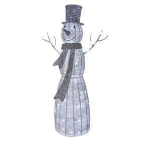 LED dekorace EMOS 120 LED vánoční sněhulák ratanový, 124 cm, vnitřní, studená bílá, časovač (DCFC01)