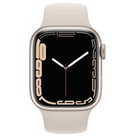 Chytré hodinky Apple Watch Series 7 GPS, 45mm pouzdro z hvězdně bílého hliníku - hvězdně bílý sportovní řemínek (MKN63HC/A)