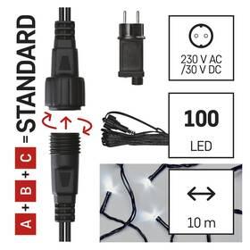 Spojovací řetěz EMOS 100 LED Základní sada pro spojovací řetězy Standard, 10 m, venkovní, studená bílá, časovač (D1AC01)