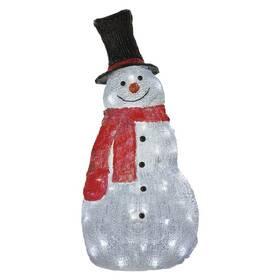 LED dekorace EMOS 60 LED vánoční sněhulák, 61 cm, venkovní i vnitřní, studená bílá, časovač (DCFC02)