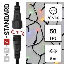 Spojovací řetěz EMOS 50 LED Standard, 5 m, venkovní i vnitřní, multicolor, časovač (D1AM02)