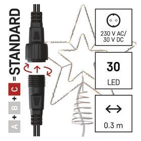 Spojovací řetěz EMOS 30 LED Standard spojovací vánoční hvězda, 28,5 cm, venkovní i vnitřní, teplá bílá, časovač (D1ZW01)