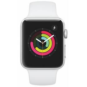 Chytré hodinky Apple Watch Series 3 GPS 42mm pouzdro ze stříbrného hliníku - bílý sportovní řemínek (MTF22CN/A)