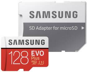Paměťová karta Samsung Micro SDXC EVO+ 128GB Class 10 UHS-3 (R100/W60) + SD adaptér (MB-MC128HA/EU)