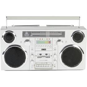 Radiomagnetofon DAB+/CD GPO Brooklyn, stříbrný