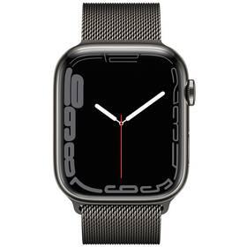Chytré hodinky Apple Watch Series 7 GPS + Cellular, 45mm grafitově šedé pouzdro z nerezové oceli - grafitově šedý milánský tah (MKL33HC/A)