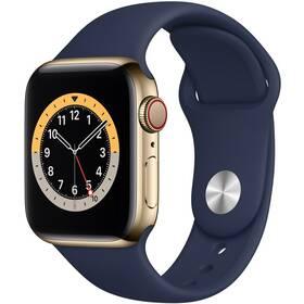 Chytré hodinky Apple Watch Series 6 GPS + Cellular, 40mm zlaté pouzdro z nerezové oceli - námořnicky tmavomodrý sportovní náramek (MJXM3HC/A)