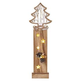 LED dekorace EMOS vánoční strom dřevěný, 48 cm, 2x AA, vnitřní, teplá bílá, časovač (DCTW03)