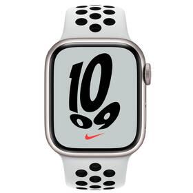 Chytré hodinky Apple Watch Nike Series 7 GPS, 45mm pouzdro z hvězdně bílého hliníku - platinový / černý sportovní řemínek (MKNA3HC/A)
