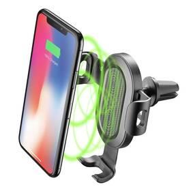 Držák na mobil CellularLine Handy Wing s bezdrátovou nabíječkou, do ventilace (HANDYWINGWIRELESSK) černý