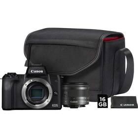 Digitální fotoaparát Canon EOS M50 + M 15-45 IS STM + SB130 + 16 GB karta (2680C064) černý