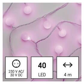 Vánoční osvětlení EMOS 40 LED cherry řetěz - kuličky 2,5 cm, 4 m, venkovní i vnitřní, růžová, časovač (D5AP01)