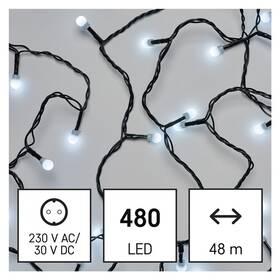 Vánoční osvětlení EMOS 480 LED cherry řetěz - kuličky, 48 m, venkovní i vnitřní, studená bílá, časovač (D5AC05)