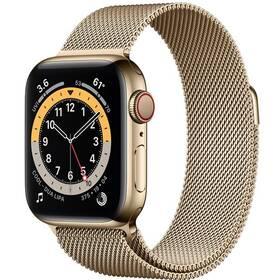 Chytré hodinky Apple Watch Series 6 GPS + Cellular, 40mm zlaté pouzdro z nerezové oceli - zlatý milánský tah (M06W3HC/A)
