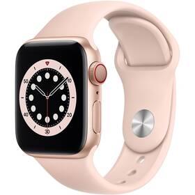Chytré hodinky Apple Watch Series 6 GPS + Cellular, 40mm pouzdro ze zlatého hliníku - pískově růžový sportovní náramek (M06N3HC/A)