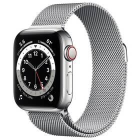 Chytré hodinky Apple Watch Series 6 GPS + Cellular, 44mm stříbrné pouzdro z nerezové oceli - stříbrný milánský tah (M09E3HC/A)