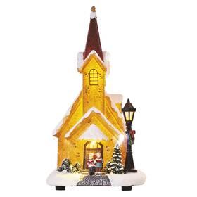 LED dekorace EMOS zasněžený vánoční kostel, 26 cm, 3x AA, vnitřní, teplá bílá (DCLW12)