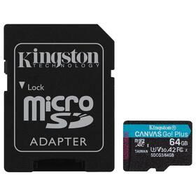 Paměťová karta Kingston Canvas Go! Plus MicroSDXC 64GB UHS-I U3 (170R/70W) + adaptér (SDCG3/64GB)