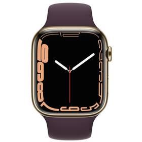Chytré hodinky Apple Watch Series 7 GPS + Cellular, 45mm zlaté pouzdro z nerezové oceli - tmavě višňový sportovní řemínek (MKJX3HC/A)
